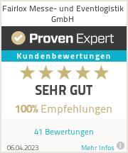 Erfahrungen & Bewertungen zu Fairlox Messe- und Eventlogistik GmbH