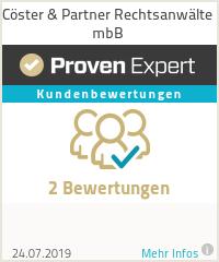 Erfahrungen & Bewertungen zu Cöster & Partner Rechtsanwälte mbB