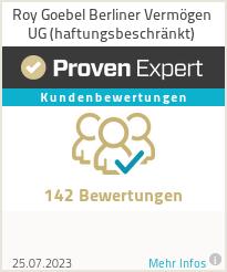 Erfahrungen & Bewertungen zu Roy Goebel Berliner Vermögen UG (haftungsbeschränkt)