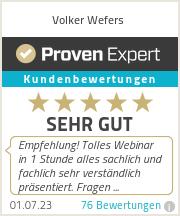Erfahrungen & Bewertungen zu Volker Wefers