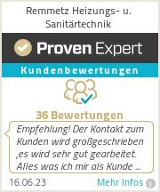 Erfahrungen & Bewertungen zu Remmetz Heizungs- u. Sanitärtechnik