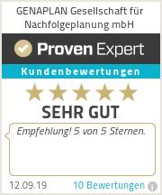 Erfahrungen & Bewertungen zu GENAPLAN Gesellschaft für Nachfolgeplanung mbH