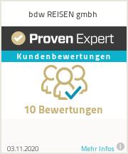 Erfahrungen & Bewertungen zu bdw REISEN gmbh