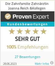 Erfahrungen & Bewertungen zu Die Zahnfamilie Zahnärztin Joanna Reich &Kollegen