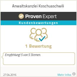 Erfahrungen & Bewertungen zu Anwaltskanzlei Koschuaschwili
