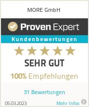 Erfahrungen & Bewertungen zu MORE GmbH