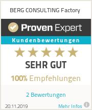 Erfahrungen & Bewertungen zu BERG CONSULTING Factory