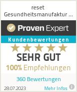 Erfahrungen & Bewertungen zu reset - Die Gesundheitsmanufaktur, Tyburzy & Hansen GbR