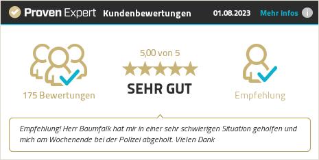Отзиви на клиенти и опит за BAUMFALK - Rechtsanwaltskanzlei. Покажи повече информация.