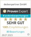 Erfahrungen & Bewertungen zu deckenpartner GmbH