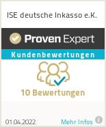 Erfahrungen & Bewertungen zu ISE deutsche Inkasso e.K.