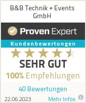Erfahrungen & Bewertungen zu B&B Technik + Events GmbH