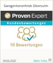Erfahrungen & Bewertungen zu Garagentorvertrieb Obersulm
