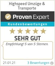 Erfahrungen & Bewertungen zu Highspeed Umzüge & Transporte