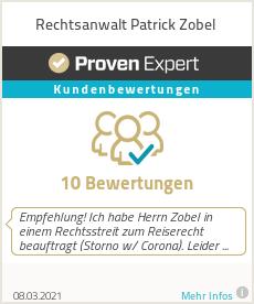 Erfahrungen & Bewertungen zu Rechtsanwalt Patrick Zobel