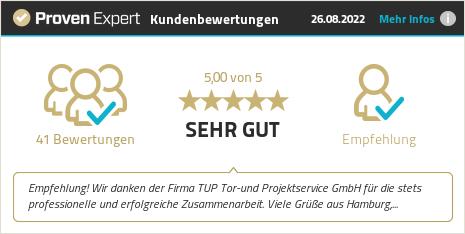 Kundenbewertungen & Erfahrungen zu TUP Tor- und Projektservice GmbH. Mehr Infos anzeigen.
