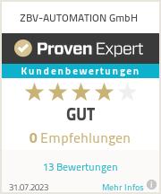 Erfahrungen & Bewertungen zu ZBV-AUTOMATION GmbH