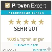 Proven Experts Siegel von Christa M. Valk e.K. für sehr gute Kundenbewertung