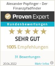 Erfahrungen & Bewertungen zu Alexander Popfinger - Der Finanzpfadfinder