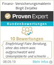 Erfahrungen & Bewertungen zu Finanz- Versicherungsmaklerin Birgit Zerjatke