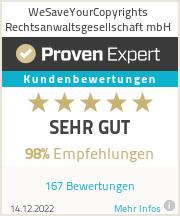Erfahrungen & Bewertungen zu WeSaveYourCopyrights Rechtsanwaltsgesellschaft mbH