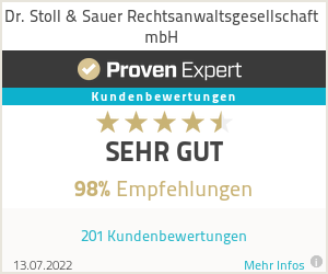 Erfahrungen & Bewertungen zu Dr. Stoll & Sauer Rechtsanwaltsgesellschaft mbH