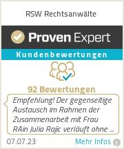 Erfahrungen & Bewertungen zu RSW Rechtsanwälte