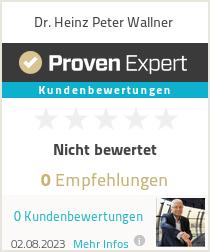 Erfahrungen & Bewertungen zu Dr. Heinz Peter Wallner