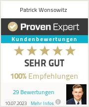 Erfahrungen & Bewertungen zu Patrick Wonsowitz