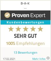 Erfahrungen & Bewertungen zu B-A-K Sicherheitsdienstleistungs-GmbH