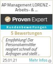 Erfahrungen & Bewertungen zu AP Management LORENZ - Arbeits- & Personalvermittlung