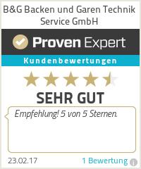 Erfahrungen & Bewertungen zu B&G Backen und Garen Technik Service GmbH