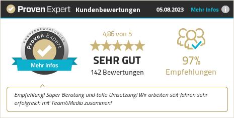 Kundenbewertungen & Erfahrungen zu team4media GmbH. Mehr Infos anzeigen.