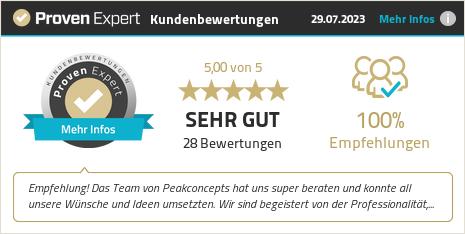 Kundenbewertungen & Erfahrungen zu PEAKCONCEPTS GmbH. Mehr Infos anzeigen.