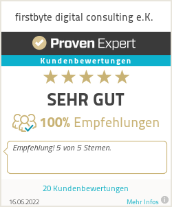 Erfahrungen & Bewertungen zu firstbyte digital consulting e.K