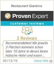 Ratings & reviews for Restaurant Giardino