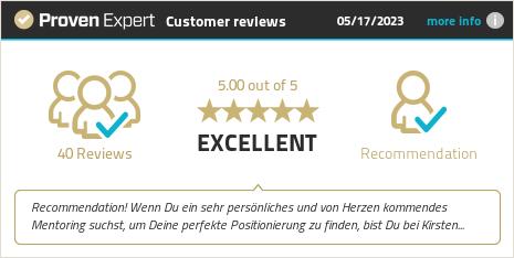 Kundenbewertungen & Erfahrungen zu Kirsten Reimer Premium-Businessmentorin. Mehr Infos anzeigen.