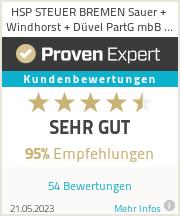 Erfahrungen & Bewertungen zu HSP STEUER BREMEN Sauer + Windhorst + Düvel PartG mbB Steuerberatungskanzlei