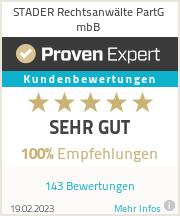 Erfahrungen & Bewertungen zu STADER Rechtsanwälte PartG mbB