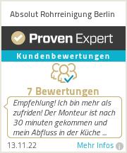 Erfahrungen & Bewertungen zu Absolut Rohrreinigung Berlin