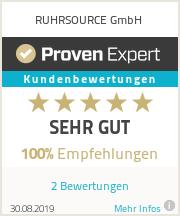 Erfahrungen & Bewertungen zu RUHRSOURCE GmbH