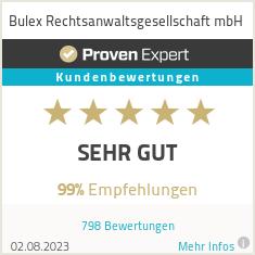 Erfahrungen & Bewertungen zu Bulex Rechtsanwaltsgesellschaft mbH